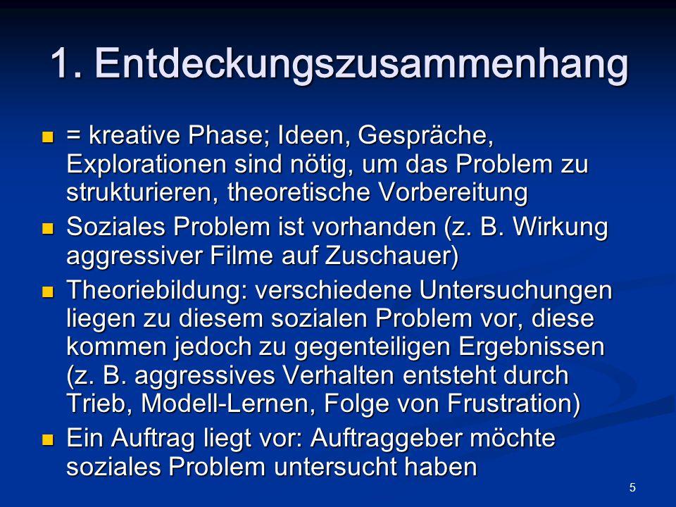 5 1. Entdeckungszusammenhang = kreative Phase; Ideen, Gespräche, Explorationen sind nötig, um das Problem zu strukturieren, theoretische Vorbereitung
