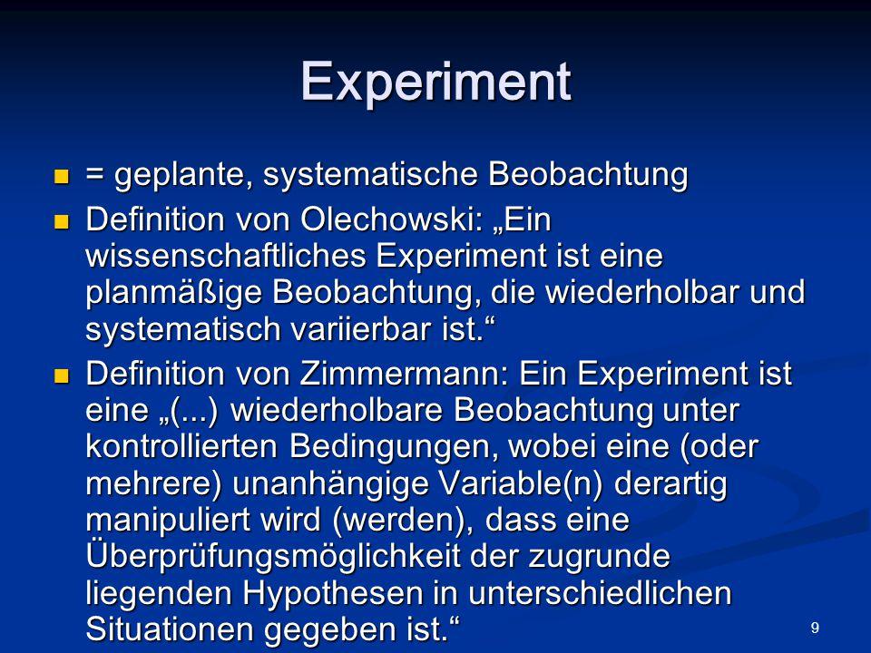 10 Merkmale eines Experiments Effekte von unabhängigen auf abhängige Variablen werden studiert Effekte von unabhängigen auf abhängige Variablen werden studiert Resultate müssen replizierbar (wiederholbar) und intersubjektiv überprüfbar sein, d.h.