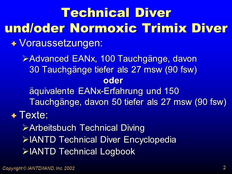242 Copyright © IANTD/IAND, Inc. 2002 Dekompressions- theorie Dekompressions- theorie