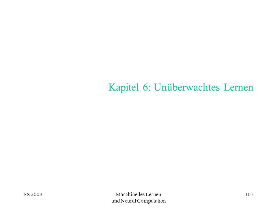 SS 2009Maschinelles Lernen und Neural Computation 107 Kapitel 6: Unüberwachtes Lernen