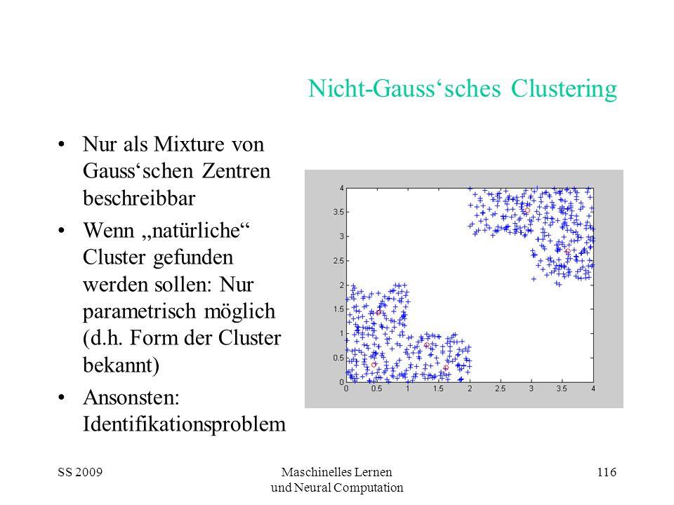 """SS 2009Maschinelles Lernen und Neural Computation 116 Nicht-Gauss'sches Clustering Nur als Mixture von Gauss'schen Zentren beschreibbar Wenn """"natürliche Cluster gefunden werden sollen: Nur parametrisch möglich (d.h."""