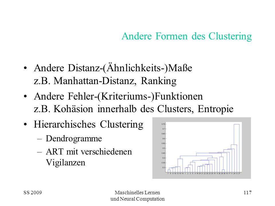 SS 2009Maschinelles Lernen und Neural Computation 117 Andere Formen des Clustering Andere Distanz-(Ähnlichkeits-)Maße z.B. Manhattan-Distanz, Ranking