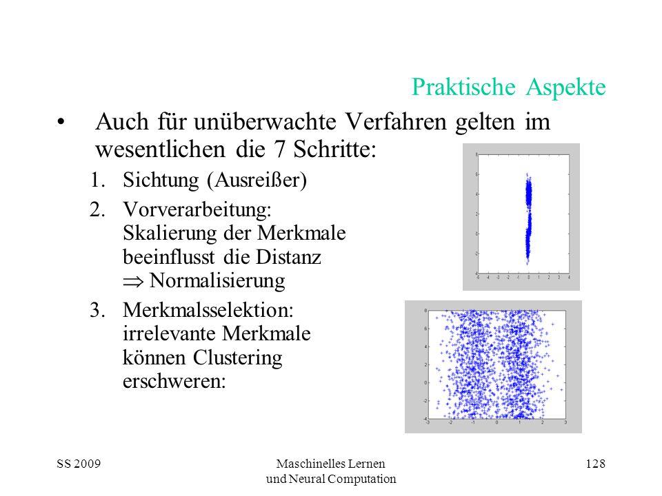 SS 2009Maschinelles Lernen und Neural Computation 128 Praktische Aspekte Auch für unüberwachte Verfahren gelten im wesentlichen die 7 Schritte: 1.Sich
