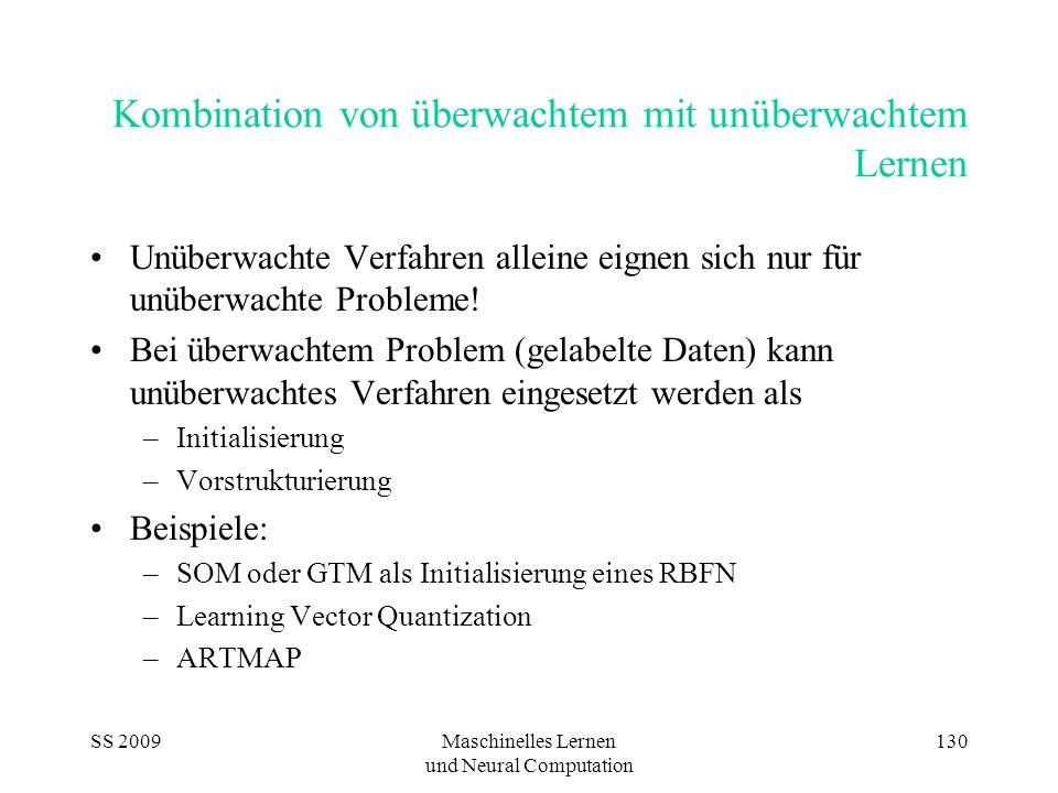 SS 2009Maschinelles Lernen und Neural Computation 130 Kombination von überwachtem mit unüberwachtem Lernen Unüberwachte Verfahren alleine eignen sich nur für unüberwachte Probleme.