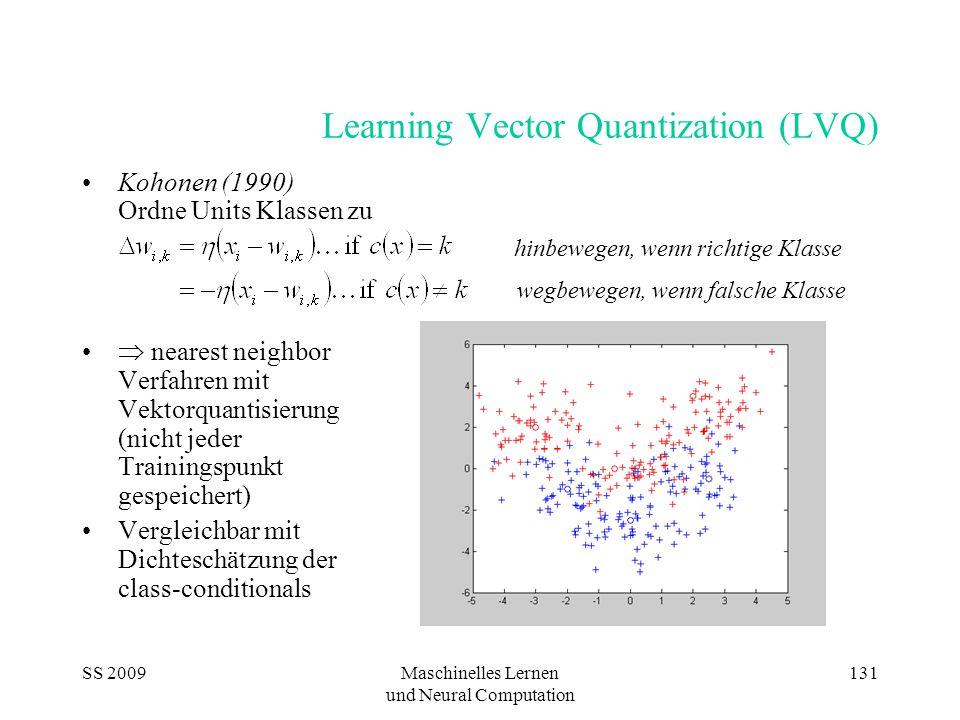 SS 2009Maschinelles Lernen und Neural Computation 131 Learning Vector Quantization (LVQ) Kohonen (1990) Ordne Units Klassen zu  nearest neighbor Verfahren mit Vektorquantisierung (nicht jeder Trainingspunkt gespeichert) Vergleichbar mit Dichteschätzung der class-conditionals hinbewegen, wenn richtige Klasse wegbewegen, wenn falsche Klasse