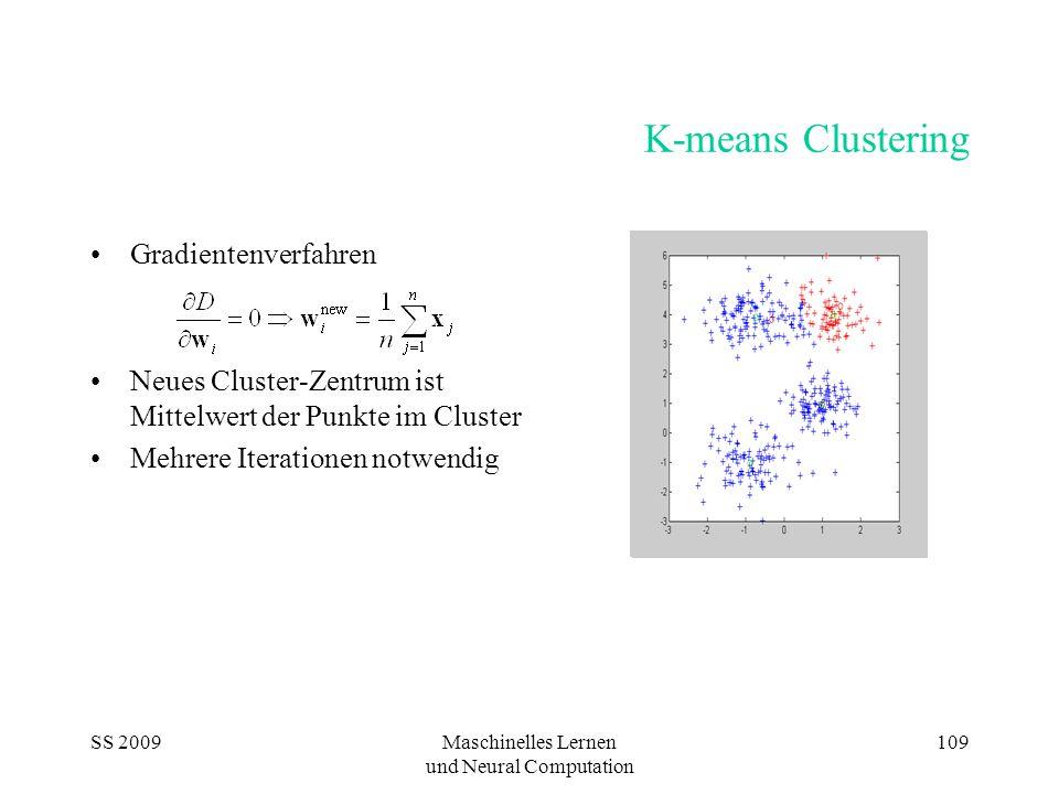 SS 2009Maschinelles Lernen und Neural Computation 109 K-means Clustering Gradientenverfahren Neues Cluster-Zentrum ist Mittelwert der Punkte im Cluster Mehrere Iterationen notwendig