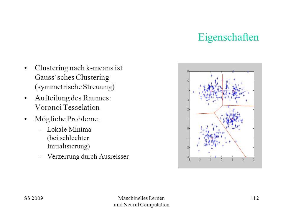 SS 2009Maschinelles Lernen und Neural Computation 112 Eigenschaften Clustering nach k-means ist Gauss'sches Clustering (symmetrische Streuung) Aufteilung des Raumes: Voronoi Tesselation Mögliche Probleme: –Lokale Minima (bei schlechter Initialisierung) –Verzerrung durch Ausreisser
