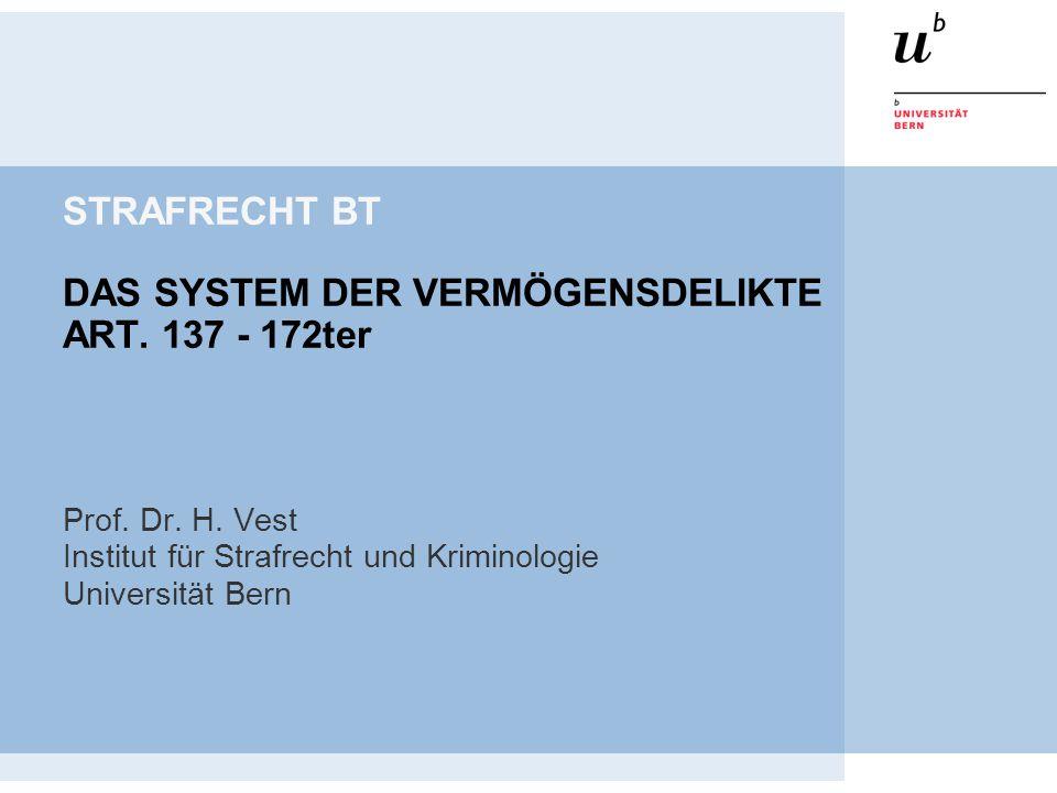STRAFRECHT BT DAS SYSTEM DER VERMÖGENSDELIKTE ART. 137 - 172ter Prof. Dr. H. Vest Institut für Strafrecht und Kriminologie Universität Bern