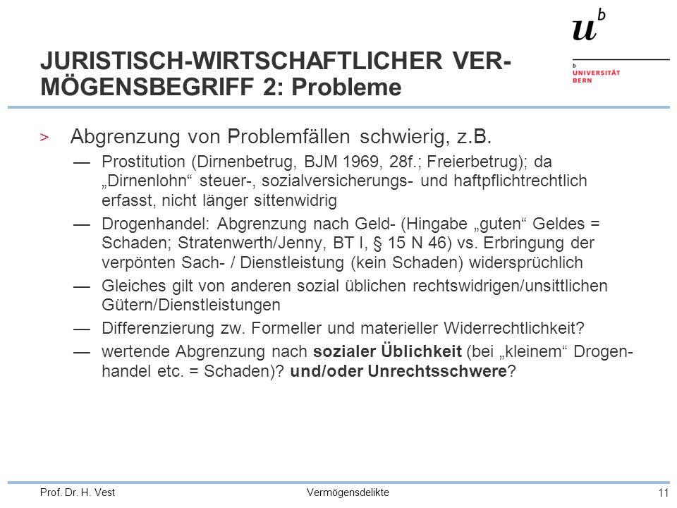 Vermögensdelikte 11 Prof. Dr. H. Vest JURISTISCH-WIRTSCHAFTLICHER VER- MÖGENSBEGRIFF 2: Probleme > Abgrenzung von Problemfällen schwierig, z.B. —Prost