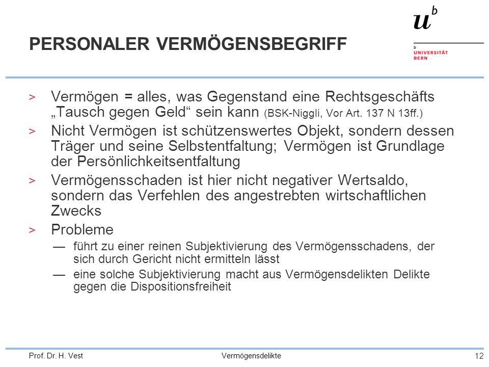 """Vermögensdelikte 12 Prof. Dr. H. Vest PERSONALER VERMÖGENSBEGRIFF > Vermögen = alles, was Gegenstand eine Rechtsgeschäfts """"Tausch gegen Geld"""" sein kan"""