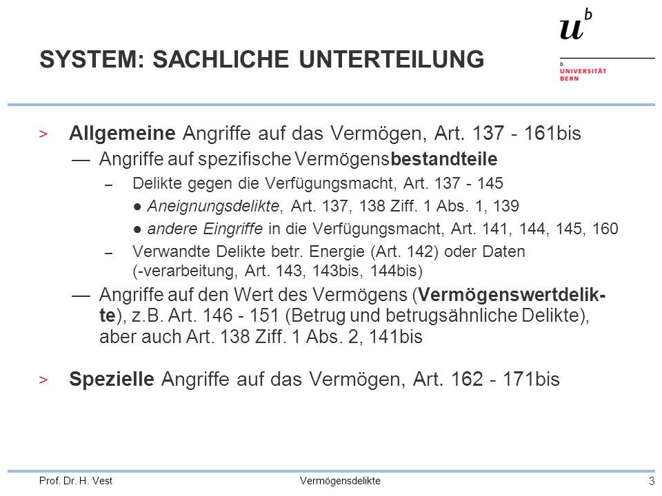 Vermögensdelikte 3 Prof. Dr. H. Vest SYSTEM: SACHLICHE UNTERTEILUNG > Allgemeine Angriffe auf das Vermögen, Art. 137 - 161bis —Angriffe auf spezifisch