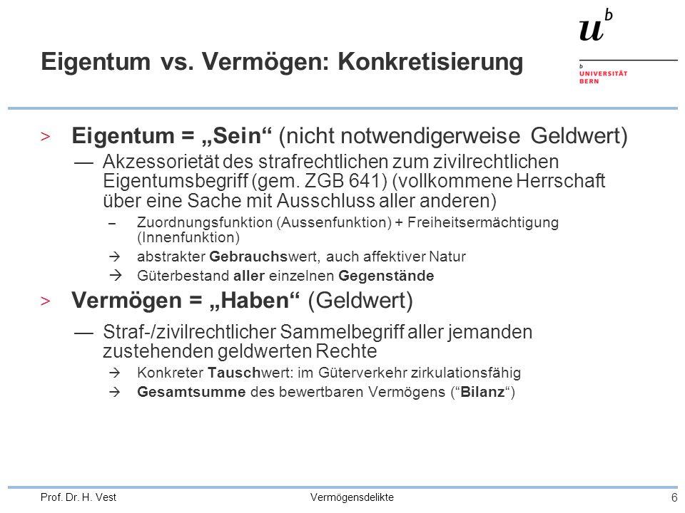 """Vermögensdelikte 6 Prof. Dr. H. Vest Eigentum vs. Vermögen: Konkretisierung > Eigentum = """"Sein"""" (nicht notwendigerweise Geldwert) —Akzessorietät des s"""