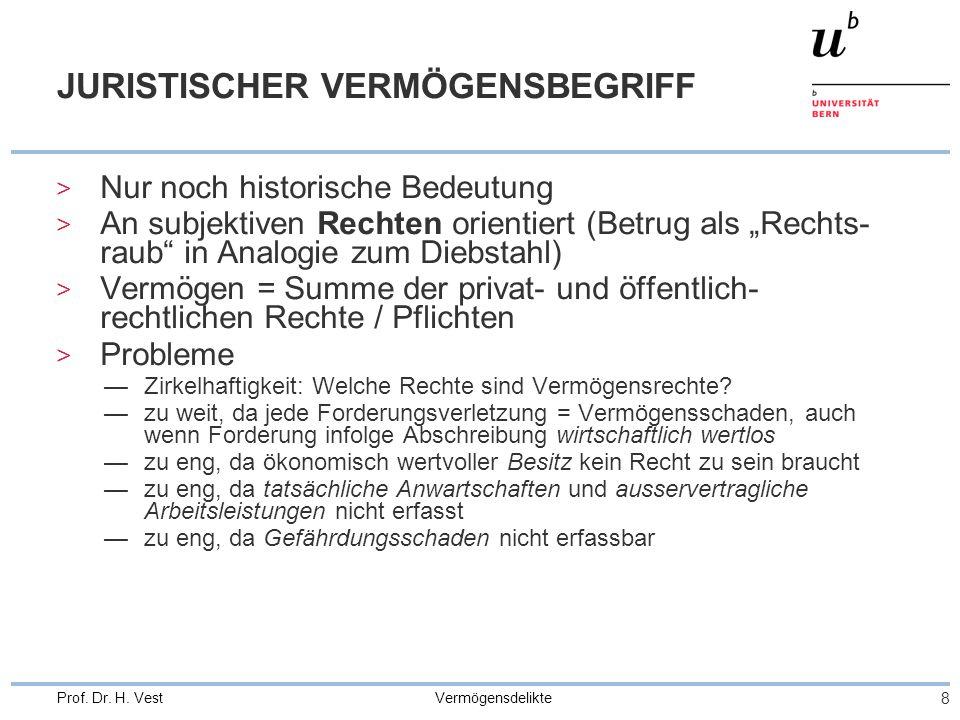 """Vermögensdelikte 8 Prof. Dr. H. Vest JURISTISCHER VERMÖGENSBEGRIFF > Nur noch historische Bedeutung > An subjektiven Rechten orientiert (Betrug als """"R"""