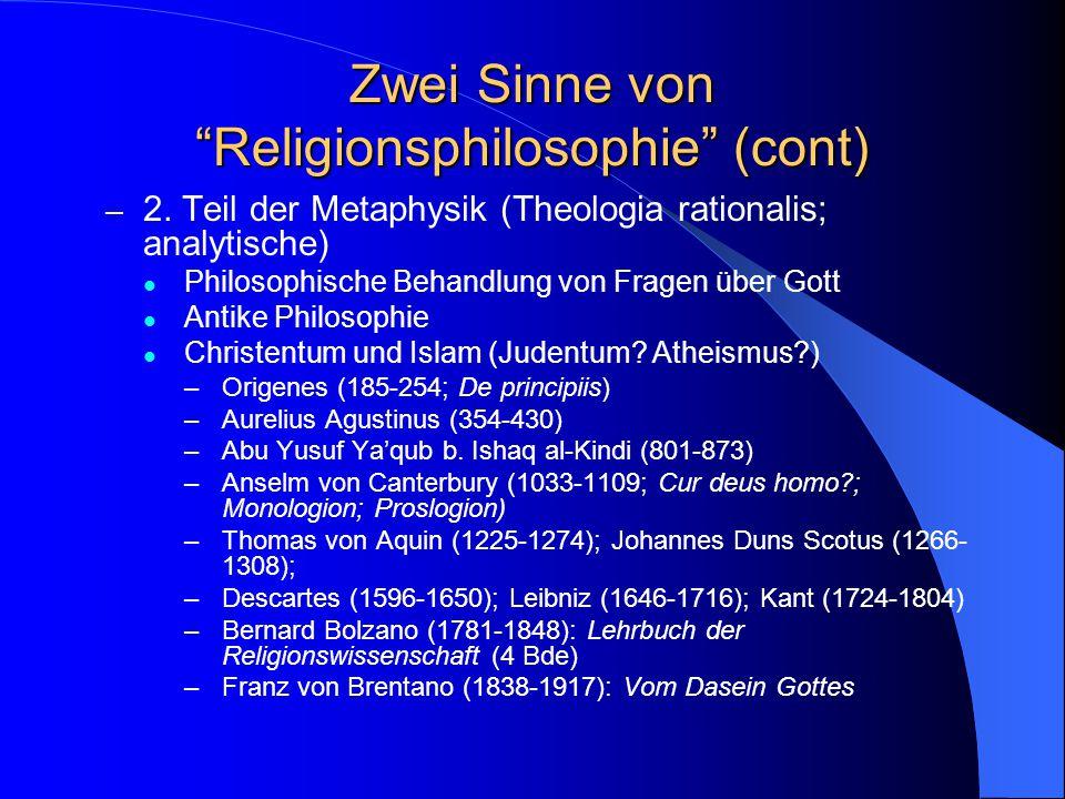 Zwei Sinne von Religionsphilosophie 1.