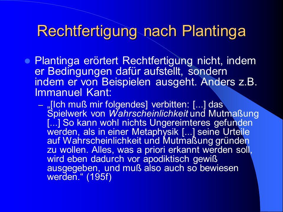 Voodoo Was ist der von Plantinga erwogene Voodoo-Einwand (326) Was ist Plantingas Antwort