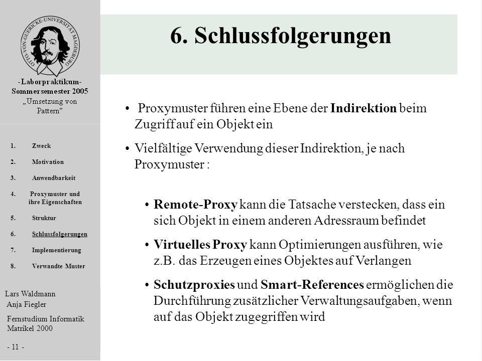Lars Waldmann Anja Fiegler Fernstudium Informatik Matrikel 2000 - 11 - 6. Schlussfolgerungen Proxymuster führen eine Ebene der Indirektion beim Zugrif