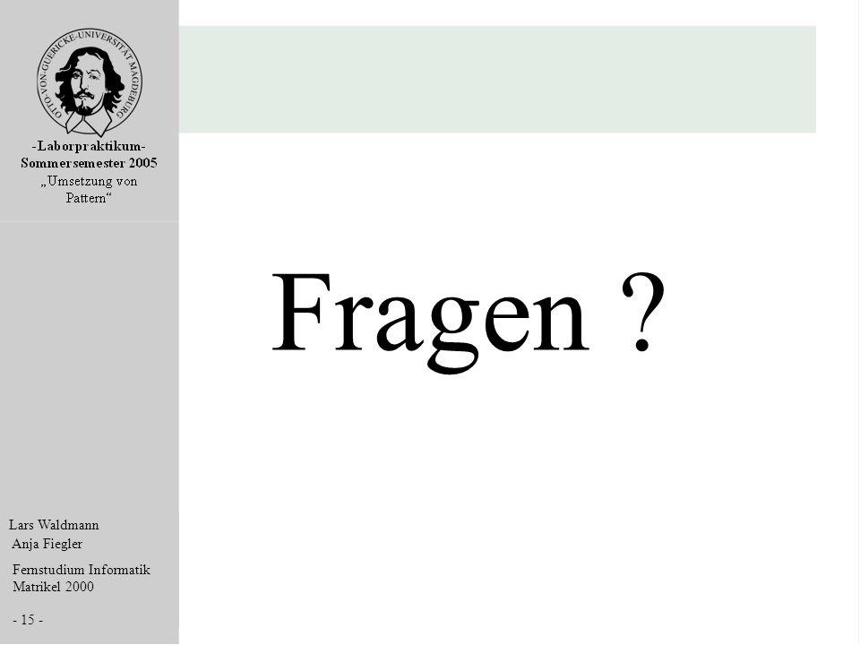 Lars Waldmann Anja Fiegler Fernstudium Informatik Matrikel 2000 - 15 - Fragen ?