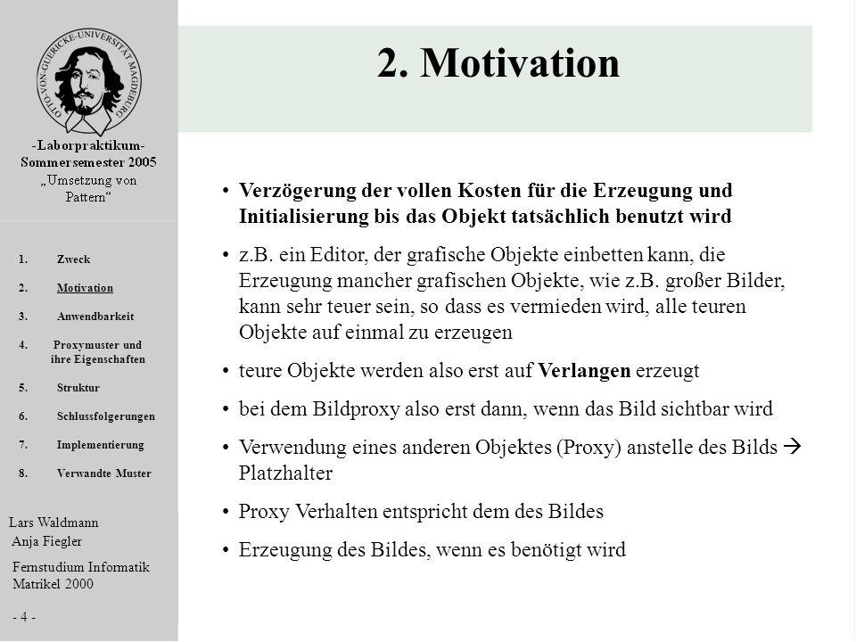Lars Waldmann Anja Fiegler Fernstudium Informatik Matrikel 2000 - 4 - 2. Motivation Verzögerung der vollen Kosten für die Erzeugung und Initialisierun