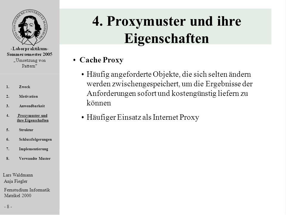 Lars Waldmann Anja Fiegler Fernstudium Informatik Matrikel 2000 - 8 - 4. Proxymuster und ihre Eigenschaften Cache Proxy Häufig angeforderte Objekte, d