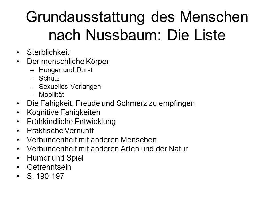 Grundausstattung des Menschen nach Nussbaum: Die Liste Sterblichkeit Der menschliche Körper –Hunger und Durst –Schutz –Sexuelles Verlangen –Mobilität