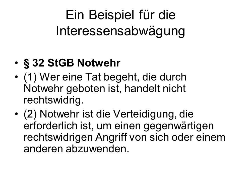 Ein Beispiel für die Interessensabwägung § 32 StGB Notwehr (1) Wer eine Tat begeht, die durch Notwehr geboten ist, handelt nicht rechtswidrig. (2) Not