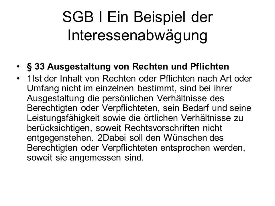 SGB I Ein Beispiel der Interessenabwägung § 33 Ausgestaltung von Rechten und Pflichten 1Ist der Inhalt von Rechten oder Pflichten nach Art oder Umfang