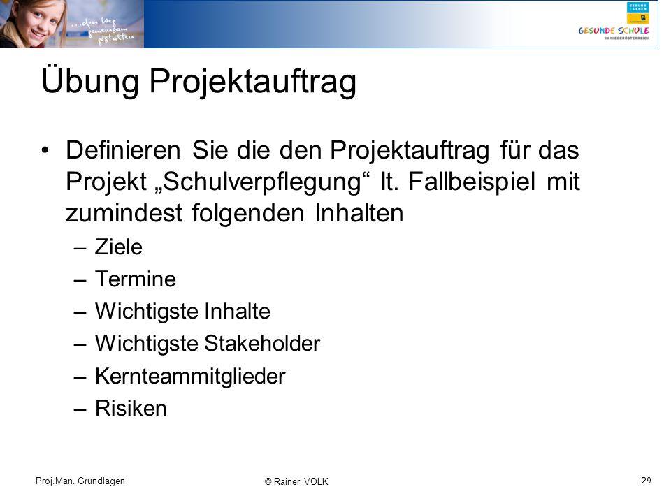 """29 Proj.Man. Grundlagen © Rainer VOLK Übung Projektauftrag Definieren Sie die den Projektauftrag für das Projekt """"Schulverpflegung"""" lt. Fallbeispiel m"""