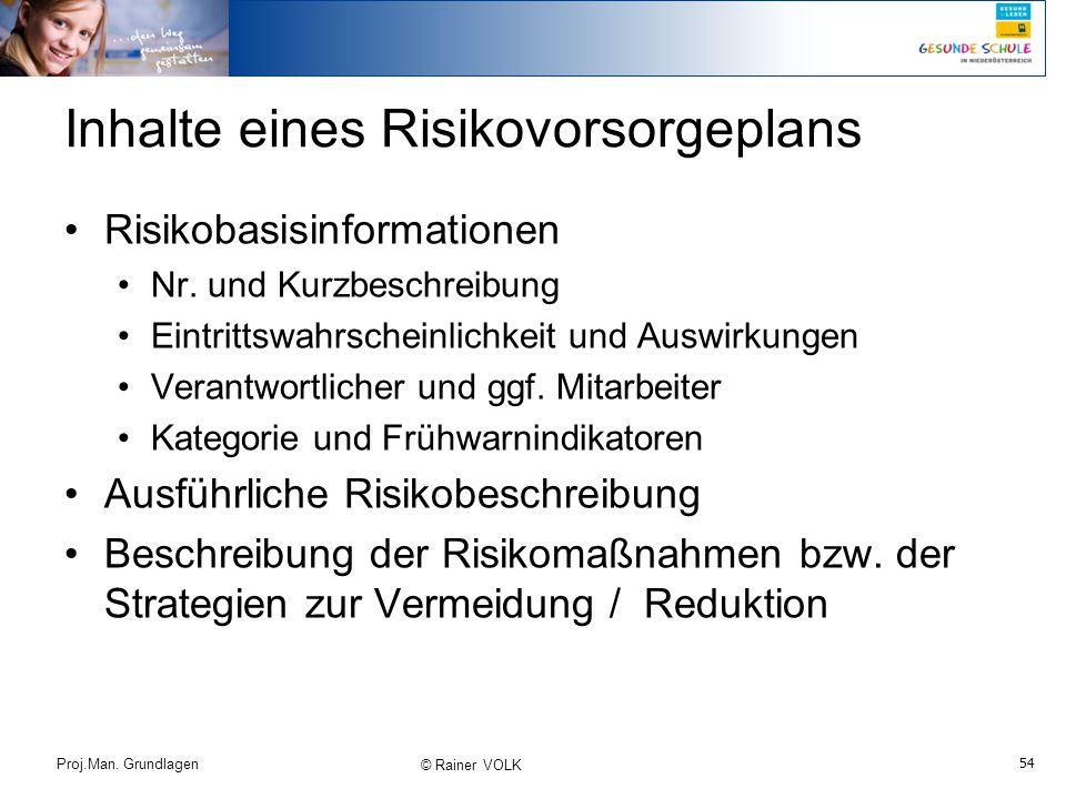 54 Proj.Man. Grundlagen © Rainer VOLK Inhalte eines Risikovorsorgeplans Risikobasisinformationen Nr. und Kurzbeschreibung Eintrittswahrscheinlichkeit