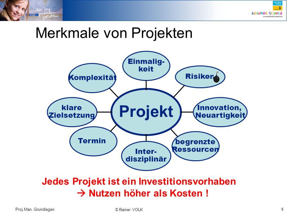 6 Proj.Man. Grundlagen © Rainer VOLK Merkmale von Projekten Komplexität Projekt klare Zielsetzung Inter- disziplinär begrenzte Ressourcen Risiken Einm