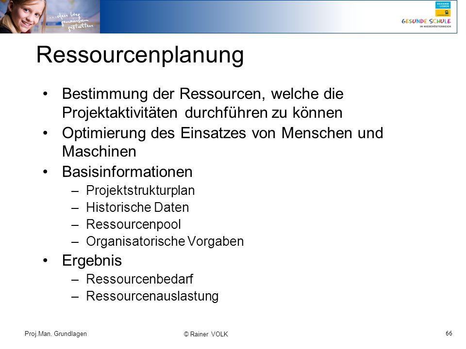 66 Proj.Man. Grundlagen © Rainer VOLK Ressourcenplanung Bestimmung der Ressourcen, welche die Projektaktivitäten durchführen zu können Optimierung des