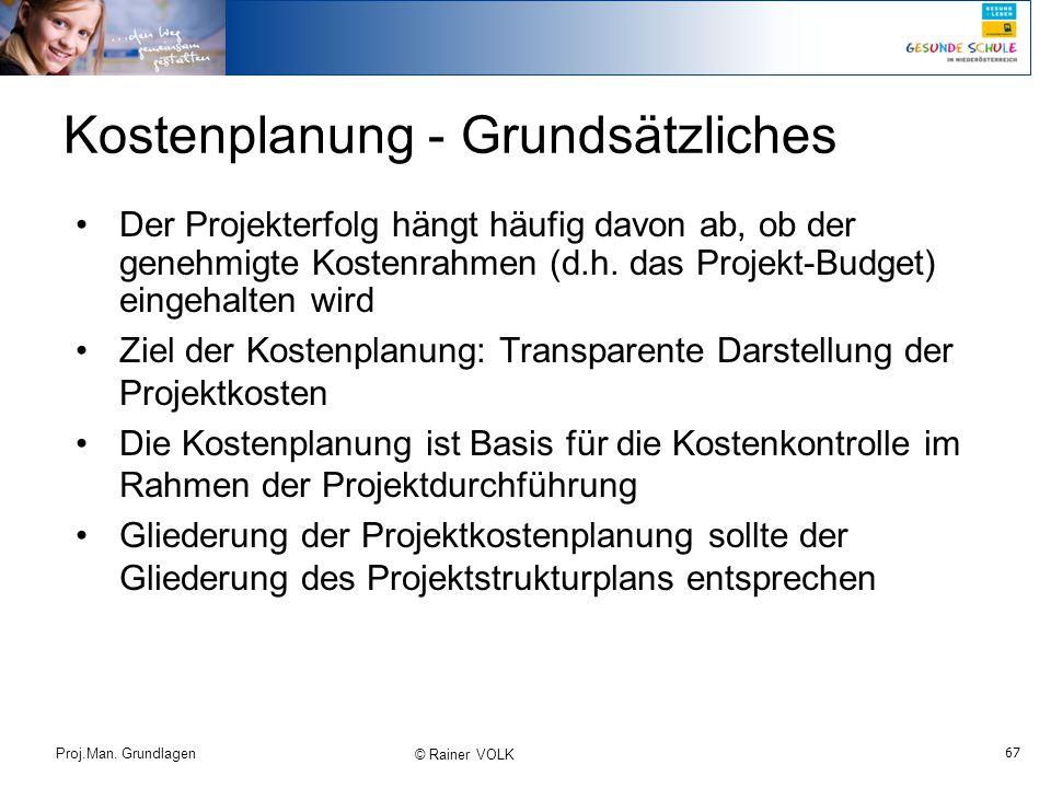 67 Proj.Man. Grundlagen © Rainer VOLK Kostenplanung - Grundsätzliches Der Projekterfolg hängt häufig davon ab, ob der genehmigte Kostenrahmen (d.h. da