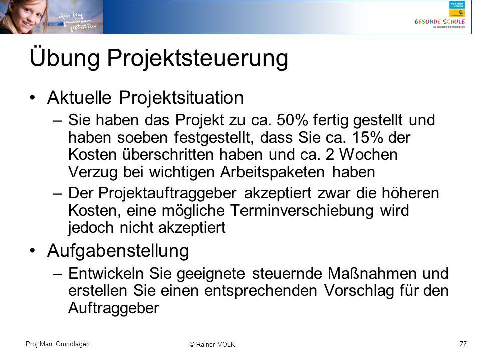 77 Proj.Man. Grundlagen © Rainer VOLK Übung Projektsteuerung Aktuelle Projektsituation –Sie haben das Projekt zu ca. 50% fertig gestellt und haben soe