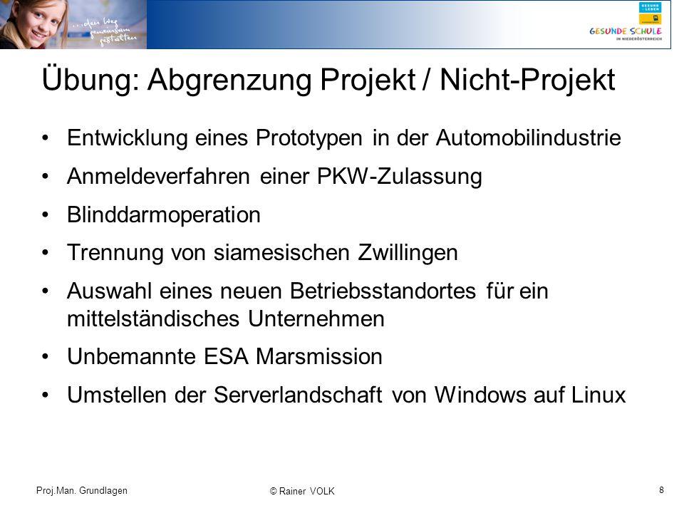 8 Proj.Man. Grundlagen © Rainer VOLK Übung: Abgrenzung Projekt / Nicht-Projekt Entwicklung eines Prototypen in der Automobilindustrie Anmeldeverfahren