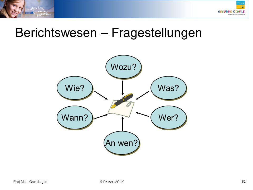 82 Proj.Man. Grundlagen © Rainer VOLK Berichtswesen – Fragestellungen Wozu? Wie? Wann? An wen? Wer? Was?