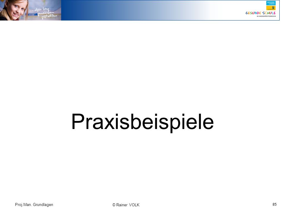 85 Proj.Man. Grundlagen © Rainer VOLK Praxisbeispiele