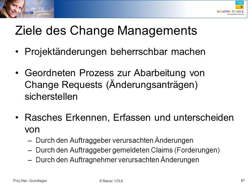 87 Proj.Man. Grundlagen © Rainer VOLK Ziele des Change Managements Projektänderungen beherrschbar machen Geordneten Prozess zur Abarbeitung von Change