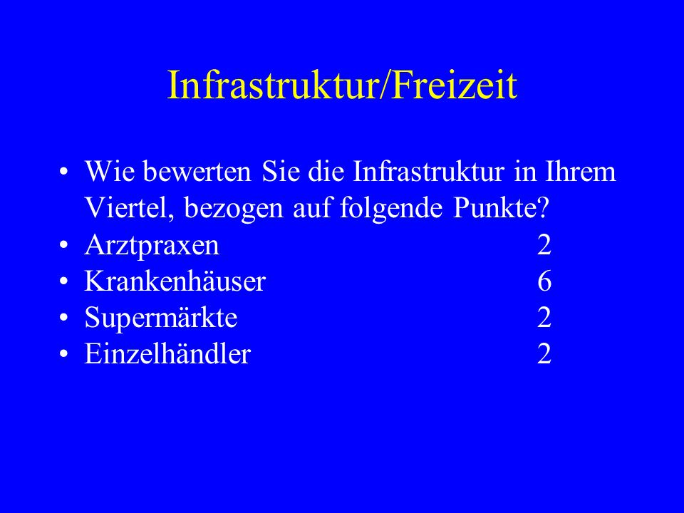 Infrastruktur/Freizeit Wie bewerten Sie die Infrastruktur in Ihrem Viertel, bezogen auf folgende Punkte.