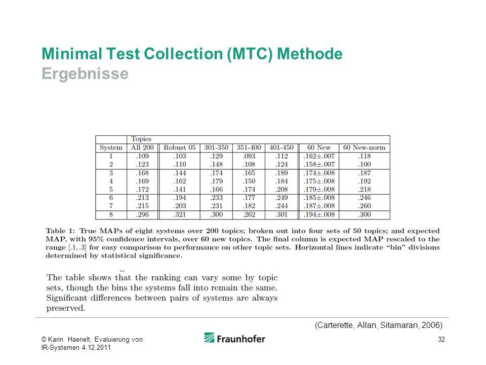 Minimal Test Collection (MTC) Methode Ergebnisse 32 (Carterette, Allan, Sitamaran, 2006) © Karin Haenelt, Evaluierung von IR-Systemen 4.12.2011
