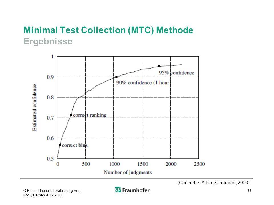Minimal Test Collection (MTC) Methode Ergebnisse 33 (Carterette, Allan, Sitamaran, 2006) © Karin Haenelt, Evaluierung von IR-Systemen 4.12.2011