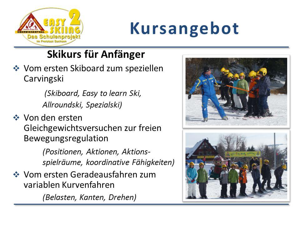 Kursangebot Skikurs für Anfänger  Vom ersten Skiboard zum speziellen Carvingski (Skiboard, Easy to learn Ski, Allroundski, Spezialski)  Von den erst