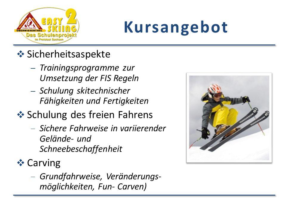 Kursangebot  Sicherheitsaspekte – Trainingsprogramme zur Umsetzung der FIS Regeln – Schulung skitechnischer Fähigkeiten und Fertigkeiten  Schulung des freien Fahrens  Sichere Fahrweise in variierender Gelände- und Schneebeschaffenheit  Carving  Grundfahrweise, Veränderungs- möglichkeiten, Fun- Carven)