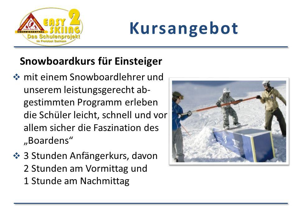 Kursangebot Snowboardkurs für Einsteiger  mit einem Snowboardlehrer und unserem leistungsgerecht ab- gestimmten Programm erleben die Schüler leicht,