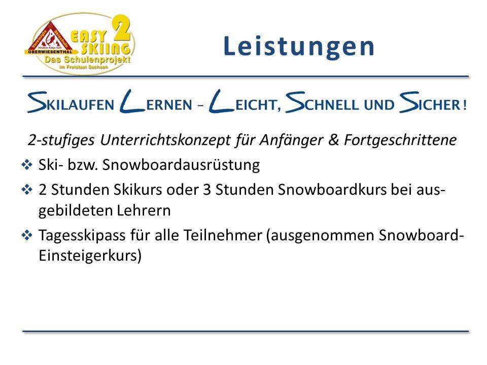 Leistungen 2-stufiges Unterrichtskonzept für Anfänger & Fortgeschrittene  Ski- bzw. Snowboardausrüstung  2 Stunden Skikurs oder 3 Stunden Snowboardk