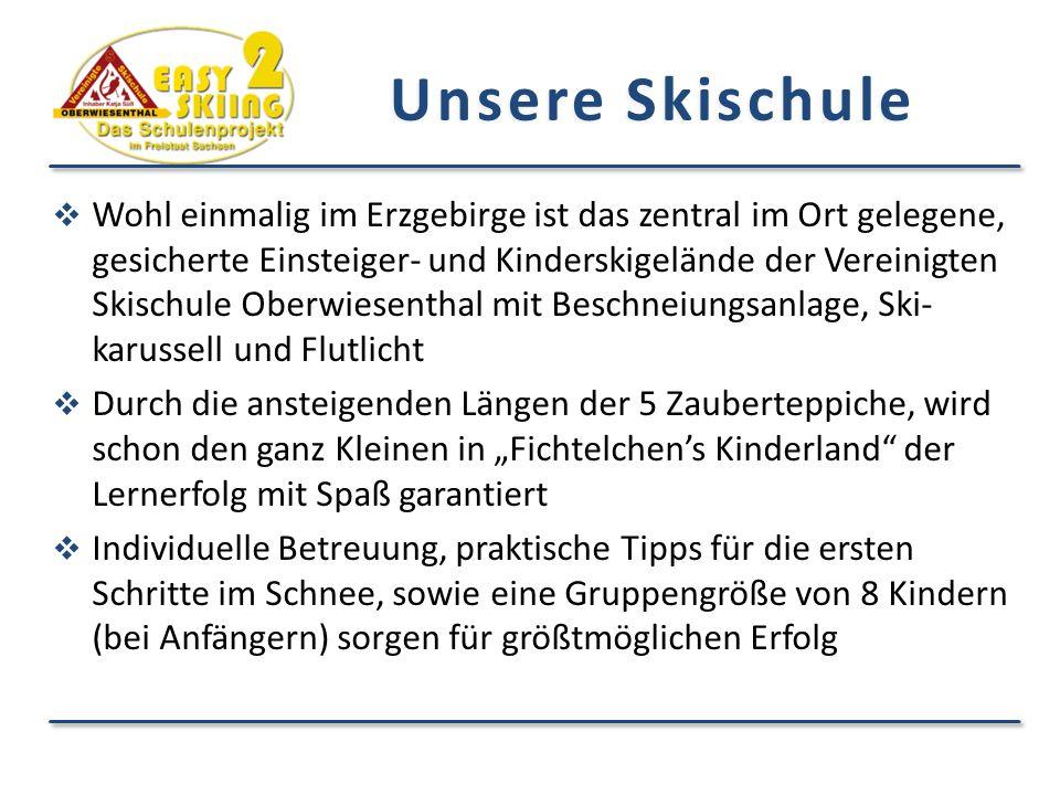 Wohl einmalig im Erzgebirge ist das zentral im Ort gelegene, gesicherte Einsteiger- und Kinderskigelände der Vereinigten Skischule Oberwiesenthal mi
