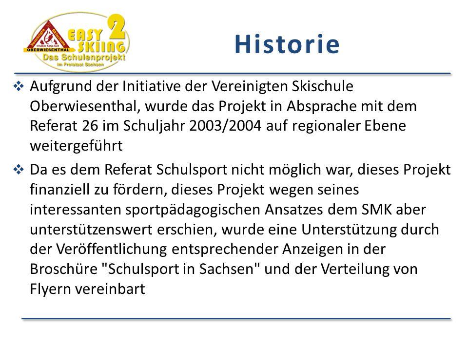  Aufgrund der Initiative der Vereinigten Skischule Oberwiesenthal, wurde das Projekt in Absprache mit dem Referat 26 im Schuljahr 2003/2004 auf regionaler Ebene weitergeführt  Da es dem Referat Schulsport nicht möglich war, dieses Projekt finanziell zu fördern, dieses Projekt wegen seines interessanten sportpädagogischen Ansatzes dem SMK aber unterstützenswert erschien, wurde eine Unterstützung durch der Veröffentlichung entsprechender Anzeigen in der Broschüre Schulsport in Sachsen und der Verteilung von Flyern vereinbart Historie