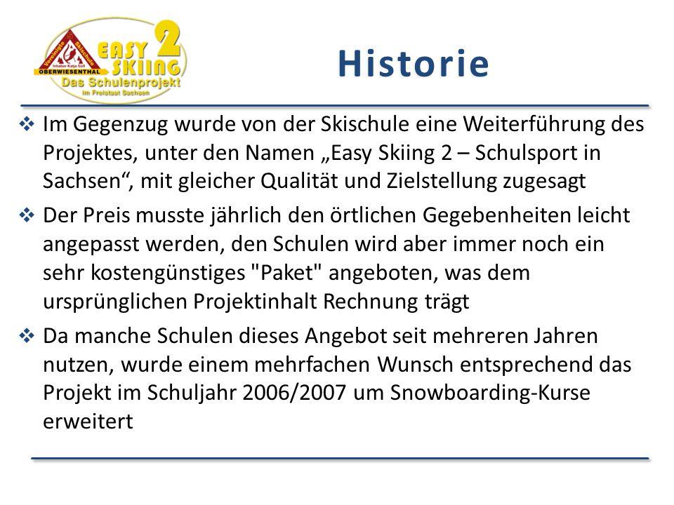 """ Im Gegenzug wurde von der Skischule eine Weiterführung des Projektes, unter den Namen """"Easy Skiing 2 – Schulsport in Sachsen , mit gleicher Qualität und Zielstellung zugesagt  Der Preis musste jährlich den örtlichen Gegebenheiten leicht angepasst werden, den Schulen wird aber immer noch ein sehr kostengünstiges Paket angeboten, was dem ursprünglichen Projektinhalt Rechnung trägt  Da manche Schulen dieses Angebot seit mehreren Jahren nutzen, wurde einem mehrfachen Wunsch entsprechend das Projekt im Schuljahr 2006/2007 um Snowboarding-Kurse erweitert Historie"""