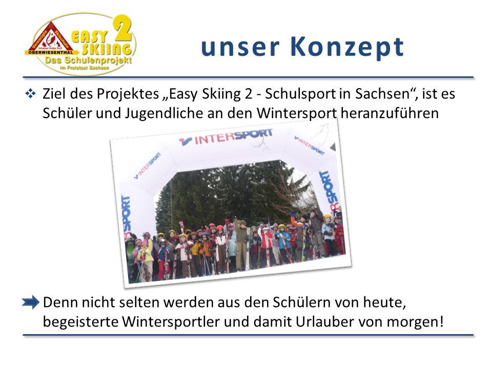 """ Ziel des Projektes """"Easy Skiing 2 - Schulsport in Sachsen"""", ist es Schüler und Jugendliche an den Wintersport heranzuführen Denn nicht selten werden"""