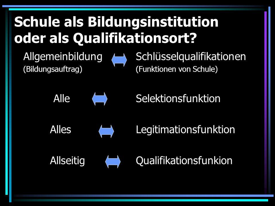 Schule als Bildungsinstitution oder als Qualifikationsort? Allgemeinbildung (Bildungsauftrag) Schlüsselqualifikationen (Funktionen von Schule) AlleSel