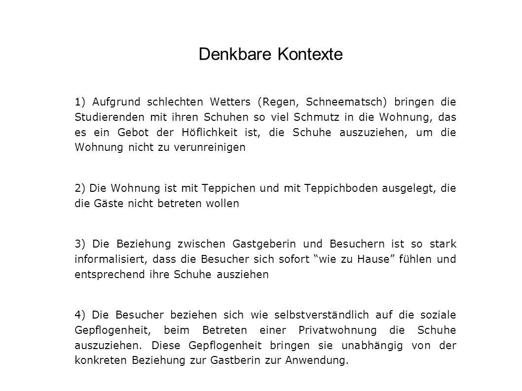Hypothese Die spezifischen gesellschaftlichen Umstände im Osten Deutschlands – und weiter zurückgehend der DDR – sind es, die dieser sozialen Praxis ihren Sinn verleihen In der klaren Grenzziehung zwischen drinnen und draußen kann man einen Nachklang der DDR-Gesellschaft sehen, in der dem privaten Bereich gesteigerte Bedeutung zukam.