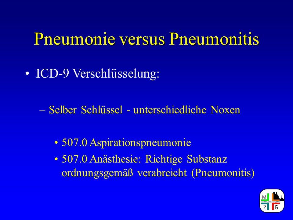 Pneumonie versus Pneumonitis ICD-9 Verschlüsselung: –Selber Schlüssel - unterschiedliche Noxen 507.0 Aspirationspneumonie 507.0 Anästhesie: Richtige S